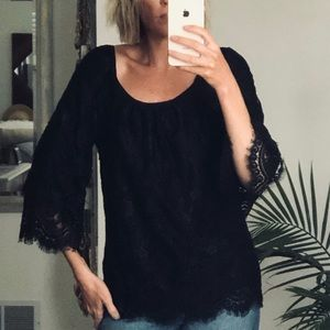 Leifsdottir Anthropologie black lace top